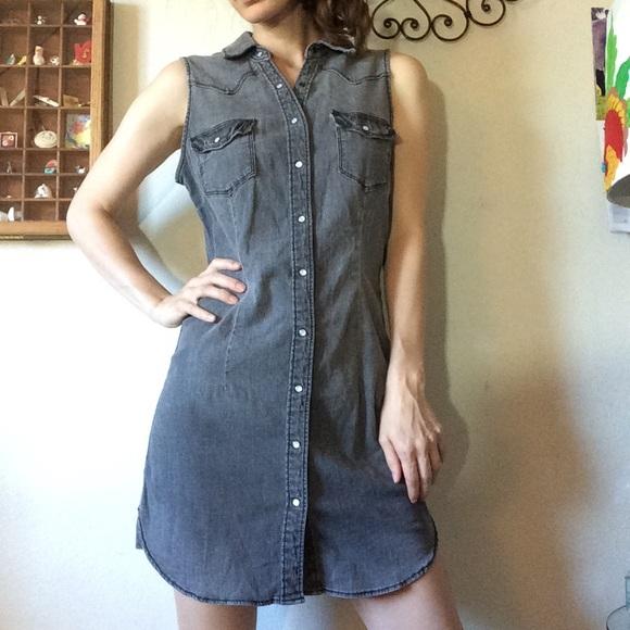 Divided Dresses & Skirts - Snap Up Grey Chambray Denim Dress Tunic Divided
